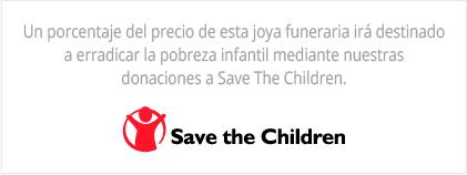 Un porcentaje del precio de esta joya funeraria irá destinado a erradicar la pobreza infantil mediante nuestras donaciones a Save The Children.